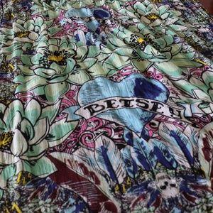 Betsey Johnson 100% viscose skull floral scarf
